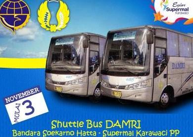 Informasi jadwal damri bus bandara soekarno-hatta, halim, ke banyak tujuan depok, gambir, rawamangun, bekasi